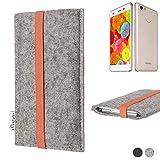 flat.design Handy Hülle Coimbra für Vestel V3 5570 - Schutz Case Tasche Filz Made in Germany hellgrau orange