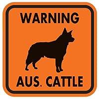 WARNING AUS. CATTLE マグネットサイン:オーストラリアンキャトル(オレンジ)Sサイズ