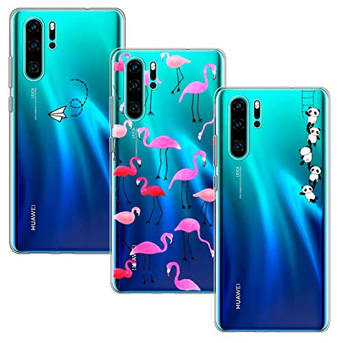 Yoowei [3-Pack] Cover per Huawei P30 PRO Trasparente con Disegni, Morbida Silicone Ultra Sottile TPU Gel Custodia Protettiva per Huawei P30 PRO, Aeroplano + Fenicotteri + Panda