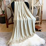 DISSA Knitted Blanket Super Soft Textured Solid Cozy Plush Lightweight Decorative Throw Blanket with Tassels Fluffy Woven Blanket for Bed Sofa Couch Cover Living Bed Room (Cream, 50'x60')