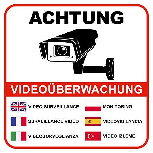 Hochwertige Achtung Videoüberwachung Aufkleber International - 6 Stück - Videoüberwacht Schild selbstklebend (Kameraüberwachung - Überwachungskamera) - Warnschild Alarmanlage/Alarmgesichert