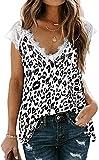 FLYCHEN Mujer Camisas sin Mangas Tops Muher Camisola Mangas Cortas de Encaje Patrón de Leopardo T-Shirt -1 Leopardo Blanco, S