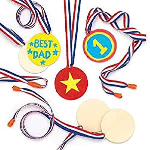 Baker Ross Medaillen aus Holz für Kinder zum Dekorieren (8 Stück)