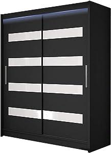 Schwebetürenschrank Westa IV Kleiderschrank, Modernes Schlafzimmerschrank, Schiebetürenschrank, Garderobe, Schlafzimmer (Schwarz + Weiß Lacobel, mit RGB LED Beleuchtung)