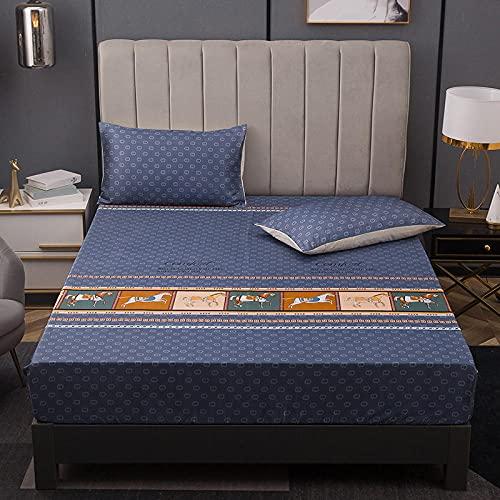 Nuoxuan Se Adapta Perfectamente al colchón,Hoja de Cama de Tres Piezas de Seda con Hielo, Dormitorio de apartamento Individual Doble tamaño King-Azul 3_150 * 200 cm (3pcs)