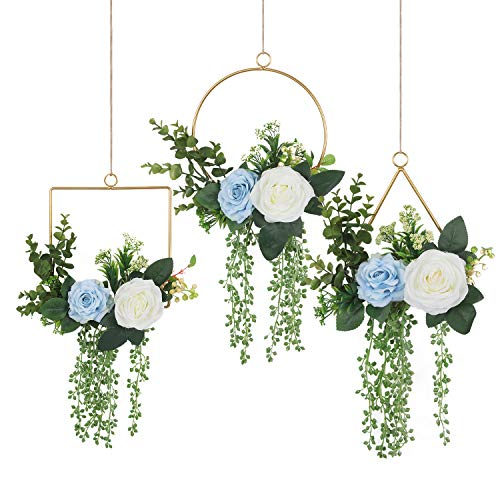 Pauwer Floral Hoop Wreath Set of 3 Hanging Succulent Wall Hoop Garland Artificial Rose Flowers and Eucalyptus Metal Ring Hoop Wreath for Wedding Nursery Wall Decor