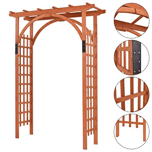 Nightcore, Wooden Garden Trellis Pergola 85 inch Arbor, Wedding Arches for Ceremony, Wood Color