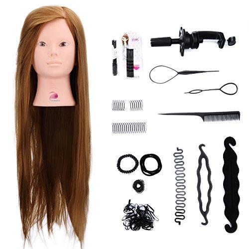 """margueras 26""""cabezas de ejercicio con maquillaje 50% cabello natural para el salón peluquería muñeca con soporte + conjunto de trenza"""