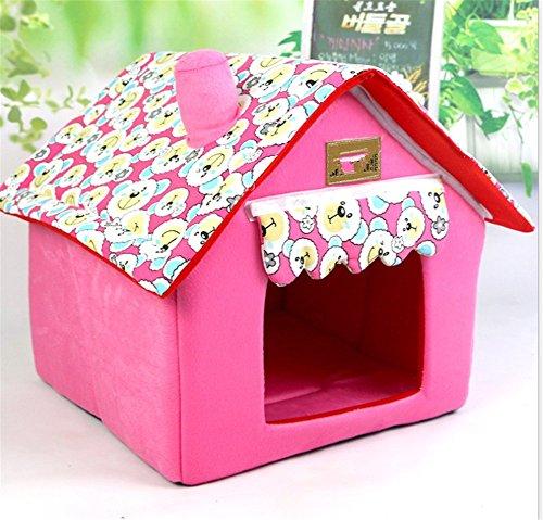 UMALL Warm und Funny Haustierbett Modernes Kuschelhöhle Gepolstert Hundebetten House-Design Hundehaus Katzenhaus Indoor Hundekissen Katzenbett (M=40 * 40 * 49cm, Pink)