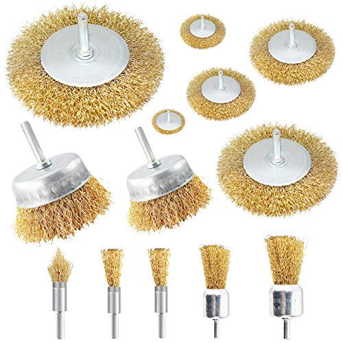 13 PCS Steel Wire Brush Wheel, Brass Coated Wire Brush and Cup Brush Kit, with 1/4-Inch Shank, Different Sizes Wire Drill Brush Set for Rust and Paint Removal for Drill