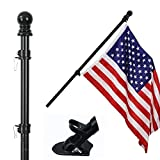 COCOHOME 5FT Flag Pole Kit - 1' Tangle-Free Flagpole with Bracket and 3x5 Embroidered American Flag, Outdoor Spinning House Wall Mount Flag Pole. (Black)
