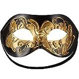 dressforfun 900882 Venezianische Maske für Damen und Herren, Augenmaske mit Verzierung für Maskenball Fasching Karneval Halloween Maskerade Party - Diverse Farben - (schwarz-Gold | Nr. 303530)