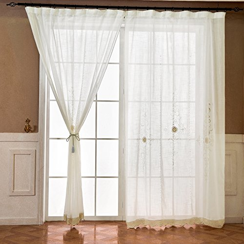 ZHH Handmade Embroidered Openwork Panel 59 by 101-inch Cord Crochet Curtain,Polyester White Sheer …