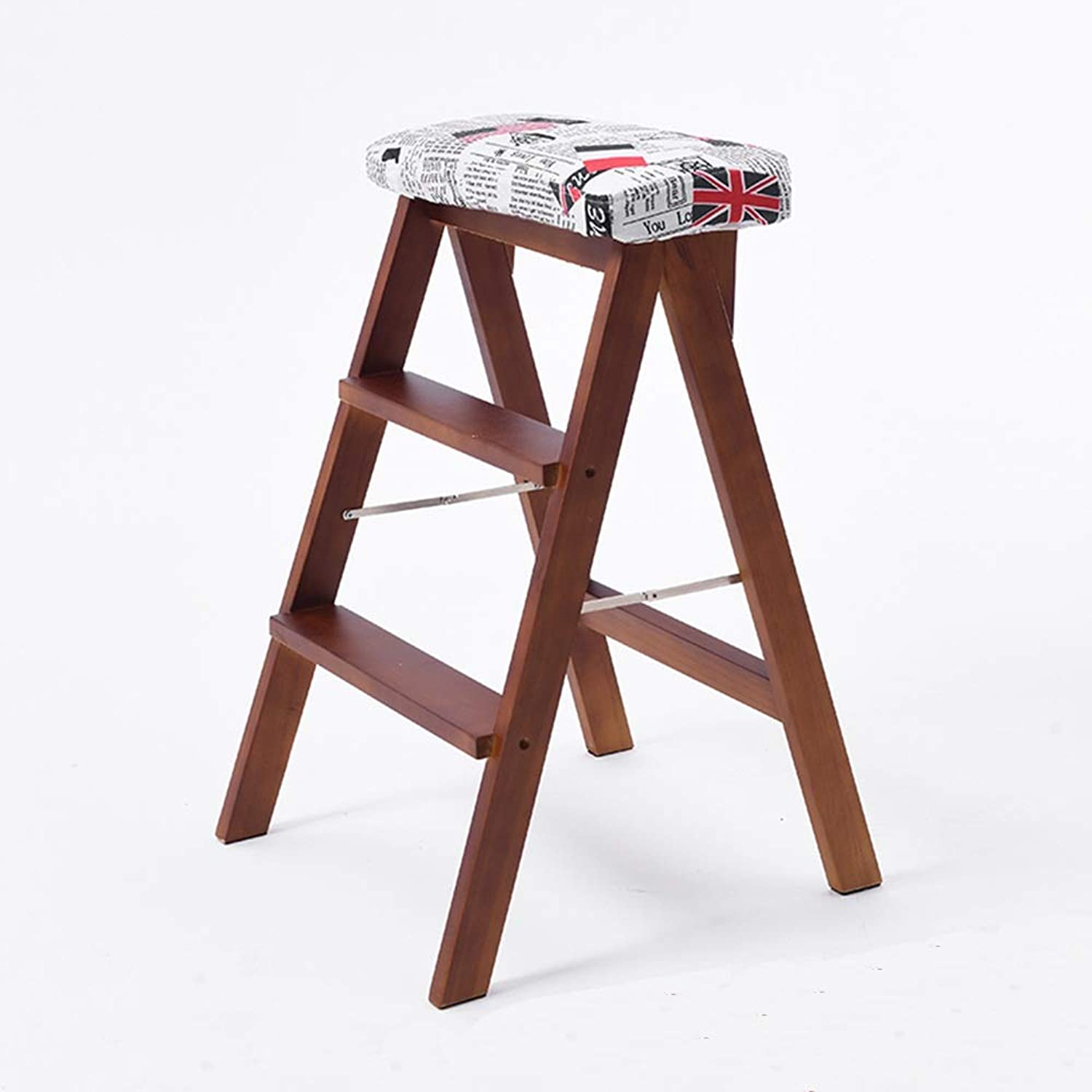 LJHA ertongcanyi Stool, Household Solid Wood Folding Chair Space Room Indoor Multi-Purpose Ladder Chair Dual-use Ascending Stair Stool 13 color Optional (color   English Flag - Walnut)