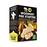 WH Woodhot Quick Ignite Natural Yeti Fire Starter Pack of 12 with 13 Minutes Burning Time for Fireplace Campfires Grill Charcoal BBQ Pizza Oven