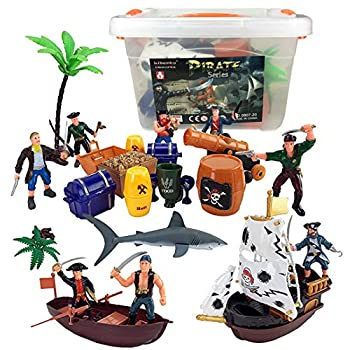 Liberty Imports Bucket of Pirate Action Figures Playset with Boat Treasure Chest Cannons Shark Pirate Ship and More!