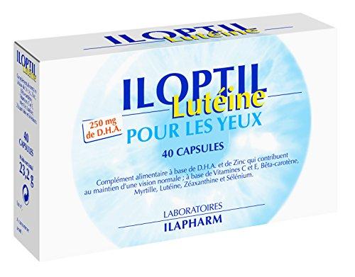 Laboratoires Ilapharm – ILOPTIL LUTEINE and ZEAXANTHINE- DHA, Preserve Your Eyes and Your RETINE – 40 Capsules