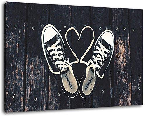 sneakers liefde schilderen op doek, XXL enorme Foto's volledig ingelijst met brancard, Art print op muur foto met frame