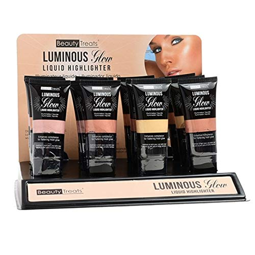 BEAUTY TREATS Luminous Glow Liquid Highlighter Display Set, 12 Pieces