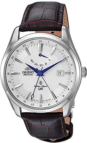 Orient Men's GMT Stainless Steel Swiss Automatic Watch with Leather Strap, Brown, 21 (Model: FDJ05003W0)