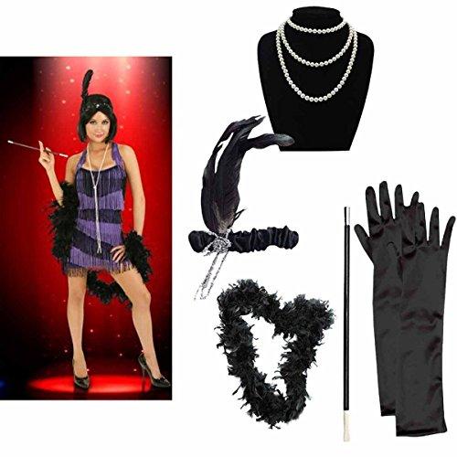 Tpocean Flapper Accesorios Set 1920s Accesorios para Mujeres Flapper Diadema Collar Guantes Cigarrillo Collar para Mujeres Flapper Disfraz Fiesta Temtica