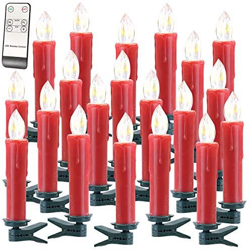 Lunartec Baumkerzen LED kabellos: FUNK-Weihnachtsbaum-LED-Kerzen mit Fernbedienung, 20er-Set, rot (Kabellose Weihnachtsbeleuchtung)