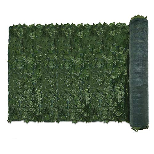 E&K Sunrise 39' x 97' Faux Ivy Privacy Fence Screen with Mesh Back-Artificial Leaf Vine Hedge Outdoor Decor-Garden Backyard Decoration Panels Fence Cover - Set of 1