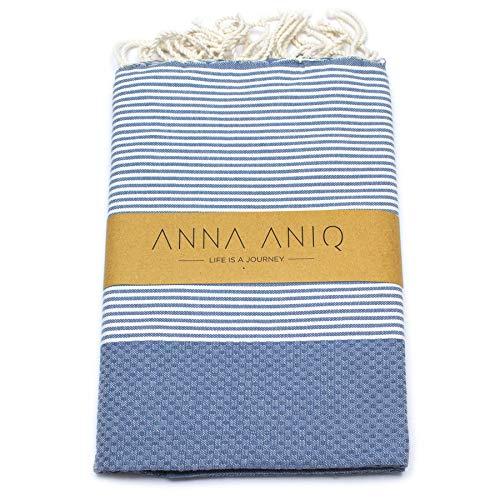 ANNA ANIQ Fouta Hamamtuch Saunatuch XXL Extra Groß 200 x 100 cm - 100% Baumwolle aus Tunesien als Strand-Tuch, Badetuch, Pestemal, Strand-Handtuch (Denim)