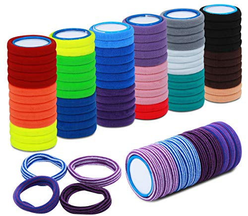 100 Stück bunte Haargummis für Mädchen und Frauen. Elastisch, bequem und hochwertig. Haarbänder in 16 Farben mit 4 Muster für den täglichen Gebrauch