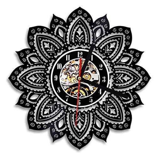 ROMK 1 Pieza Lotus Floral Flor de la Vida Reloj de Pared Diseño Moderno Artesanía psicodélica Mandala Yoga Buda Reloj de Pared con Disco de Vinilo
