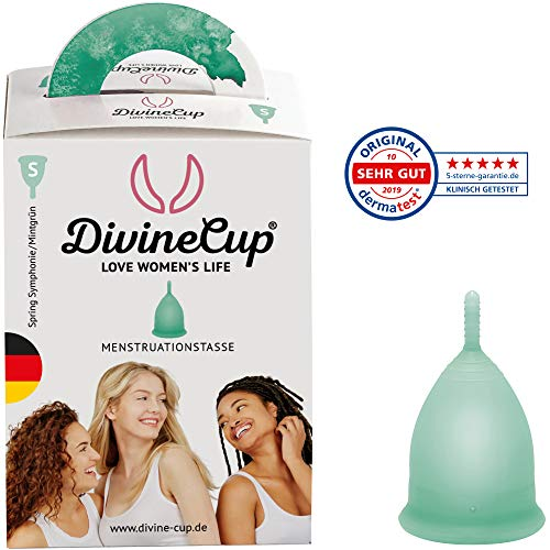 DIVINE CUP Menstruationstasse Größe S, klein - klinisch getestet, Note SEHR GUT - 100{1722b0ac7808eac78ab565ef283990abaa49895a862450855c896c2422343682} Made in Germany - mintgrün, in vier Farben erhältlich - weiches, wiederverwendbares, medizinisches Silikon