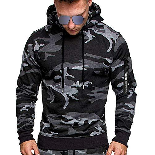 SFYZY Herren Langarm Pullover Camouflage Hoodie Grün Einfarbig Kapuzenpullover Pulli mit Kapuze Hoody Sweatshirt für Männer mit Arm Reißverschlusstasche