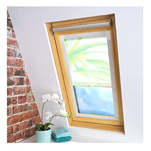 Liedeco® Dachfensterrollo mit Seitenschienen / 37 x 90 cm Dekor Blätter grün/lichtdurchlässig Blickdicht stufenlos verstellbar/für viele Dachfenstertypen/Sichtschutz Blendschutz Sonnenschutz/Rollos