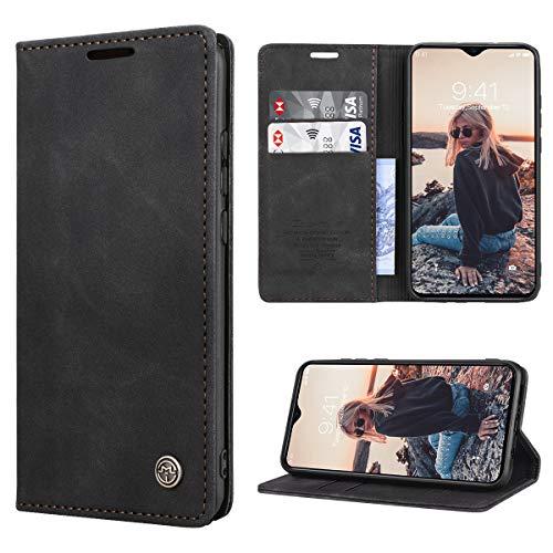 RuiPower Kompatibel für Xiaomi Redmi Note 8 Pro Hülle Premium Leder PU Handyhülle Flip Hülle Wallet Lederhülle Klapphülle Klappbar Silikon Bumper Schutzhülle für Redmi Note 8 Pro Tasche - Schwarz