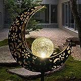 Solarleuchte Solarlampen für Garten Gartenleuchte Solar Mond Leuchte Aushöhlende Wegeleuchte