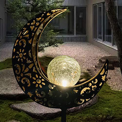 Solarleuchte Solarlampen für Garten Gartenleuchte Solar Mond Leuchte Aushöhlende Wegeleuchte mit Erdspieß Außen Beleuchtung Dekoration für Garten 1 PCS …