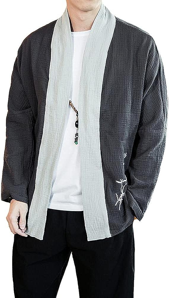 HAORUN Men Chinese Style Linen Cardigan Regular Fit Retro Casual Jacket Coat