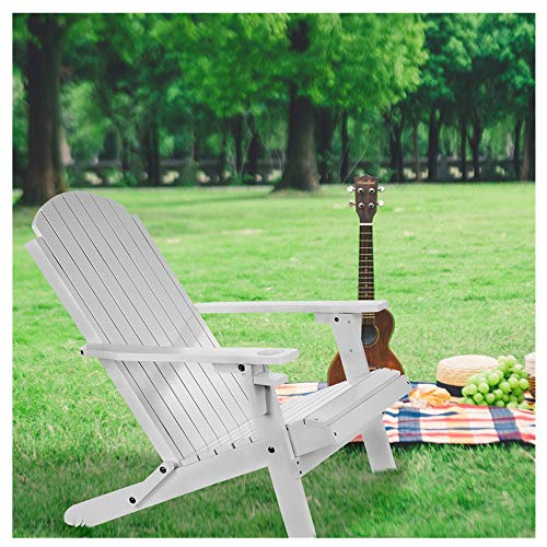 Outdoor Folding Chair with Cup Holder, Foldable Wood Reclining Adirondack Chairs,Dining Table Patio Garden Furniture,Adult-Size, Weather Resistant for Patio Deck Garden, Backyard & Lawn Furniture