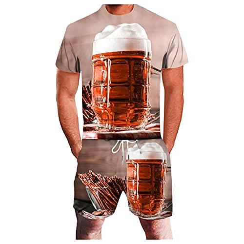 Chándal para hombre con diseño de tazas de cerveza 3D para hombre, conjunto de 2 piezas, juego deportivo de manga corta y pantalón corto casual