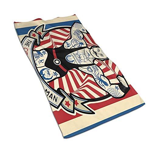 WH-CLA Toalla De Piscina Icon Nostalgic The Strong Man with Tattoos and Muscles Circus Star 80X130Cm Baño De Secado Rápido Lujo Único Impreso Hoja De Baño para Adultos Toallas De Baño Lig