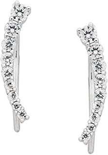 Bevilles Sterling Silver Curved Climber Earrings