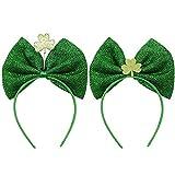 Heinside Elasticidad Las Vendas Día 2pcs St Patricks del trébol de Irlanda del Bowknot de Las Vendas Las Vendas St Patricks Day Accesorios (Verde) Scrunchie