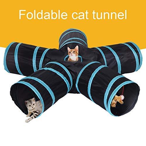 HEEPDD Juguete de Tubo de túnel de Gato, 5 Formas de Cama de túnel Largo Plegable Juguete de poliéster Telas de túnel Oculto Juguetes de Juego Interactivo para Cachorros Conejos Hámsters Gatos Perros