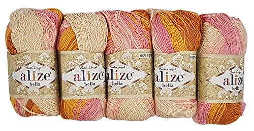 Alize Bella 5 x 50 Gramm Baumwolle Mehrfarbig mit Farbverlauf, 250 Gramm Wolle aus 100% Baumwolle, Strickwolle (rosa lachs terrakotta Creme 6789)