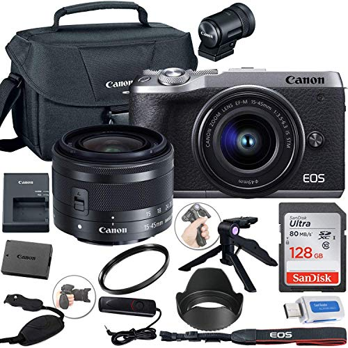 Canon EOS M6 Mark II Mirrorless Digital Camera (Silver) with 15-45mm Lens and EVF-DC2 Viewfinder + Canon Shoulder Bag + 128GB Sandisk Memory Card + Grip Steady Tripod + Lens Tulip Hood & More.