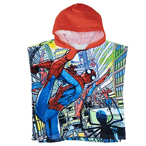 Spiderman Marvel Original Licensed Boys Hooded 100% Cotton Poncho Towel....