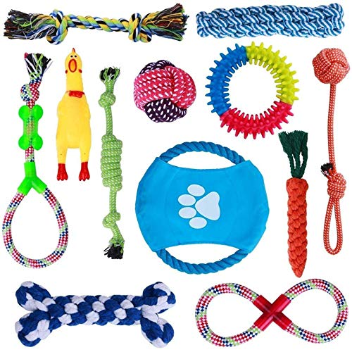 Parner Dog Rope Toys, 12 Set Puppy Chew Toy Durable Teeth Cleaning for Small Medium Large Dog Cotton Squeak Interactive Toys