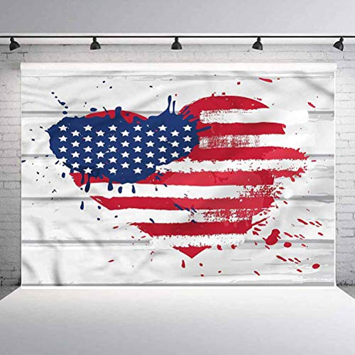 7x7FT Vinyl Backdrop Photographer,Americana,USA Flag in Heart Shape Background for Baby Birthday Party Wedding Studio Props Photography