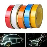 TOTMOX 5M Car Reflective Body Rim Funny DIY Stickers Warning Safety Auto Motorcycle Bike Decal Body Cover Decoration Strip Red,Silver,White, Yellow, Blue
