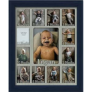 Northland Baby First Year Personalized Frame – Holds Twelve 2.5″ x 3.5″ Newborn Nursery Decor Photos and 5″ x 7″ One Year Picture, Navy Frame, Light Gray Mat, Customizable with Any Name